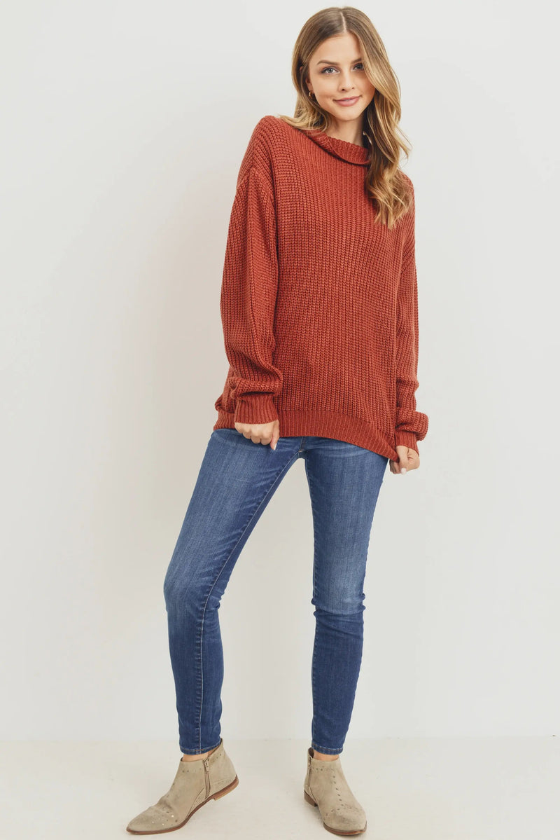 Sheila Mock Neck Sweater Cinnamon
