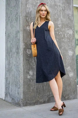 Charcoal Cotton Midi Dress