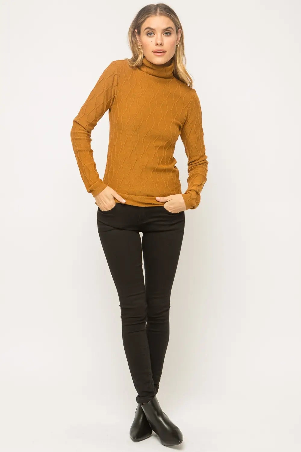Taren Caramel Textured Turtleneck  Sweater