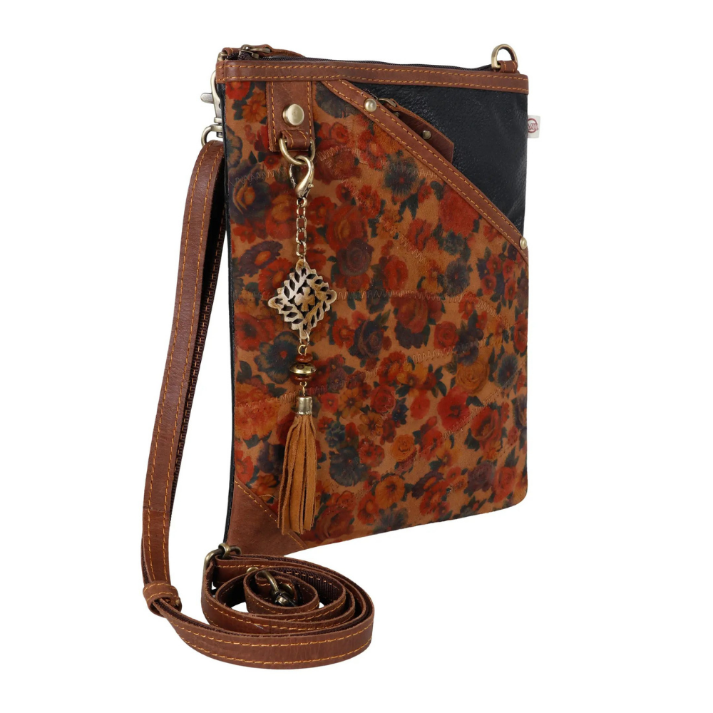 Vaan & Co. Annie Floral Upcycled Leather Crossbody Bag