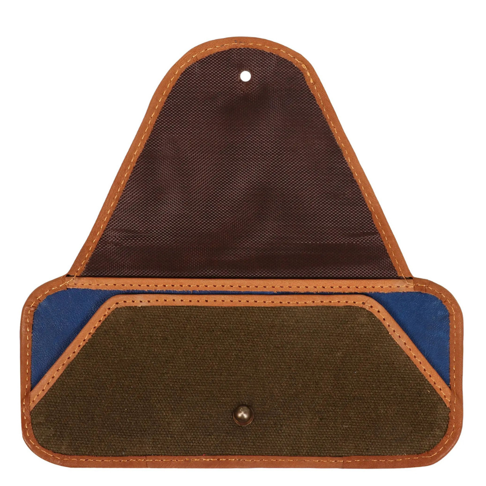 Vaan & Co. Brad Canvas/Upcycled Leather Eyeglass Case