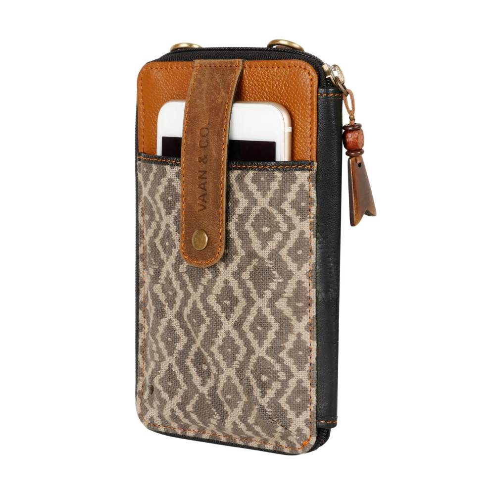 Vaan & Co. Delia Canvas/Upcycled Leather Cellphone Crossbody Bag