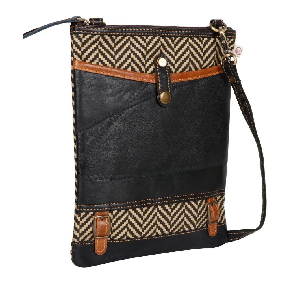 Vaan & Co. Ella Canvas/Upcycled Leather Crossbody Bag