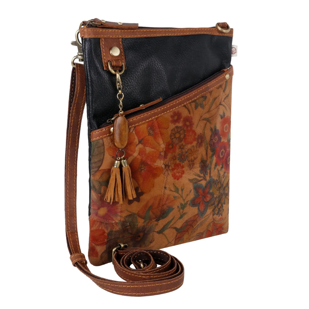 Vaan & Co. Vera Floral Upcycled Leather Crossbody Bag