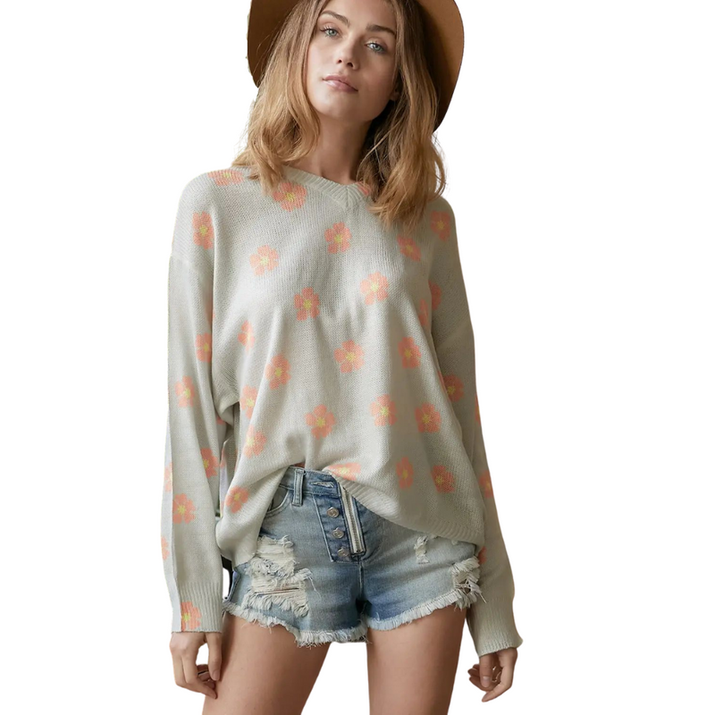 Lisa Grey Floral Printed V-Neck Cutout Sweater