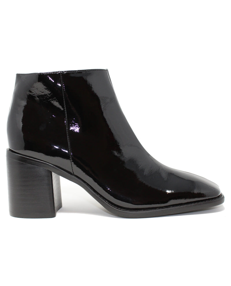 Intentionally Blank Hugs2  Black Patent Ankle Boot