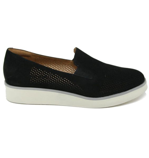 Softwalk Whistle Black Perf Flat