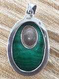 Malachite and Kuan Yin Pendant