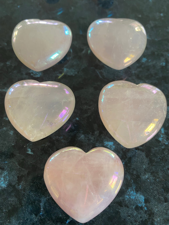 Angel Aura Rose Quartz Hearts