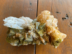 Green Apophyllite, Stilbite and Scolecite Cluster