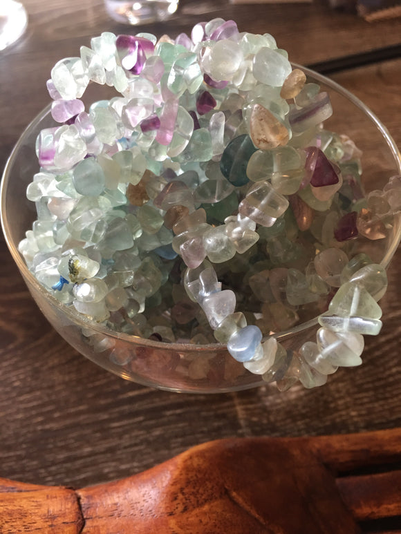 Jewelry Rainbow Fluorite Crystal Chip Bracelet