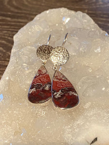 Red Crazy Lace Agate Earrings