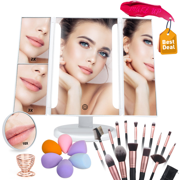 Adjustable Tri-Fold Vanity Mirror and 16 Piece Professional MakeUp Brush and 4 Make Up Sponges Set with Stands