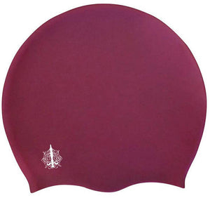 Swim Cap for Long Hair In The Color Burgundy - by Aquastockings