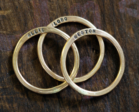 14k Gold Filled Custom Hammered Rings - Set of 3 (S0313)