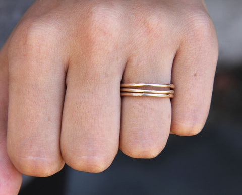 14k Yellow Gold Custom Hammered Rings - Set of 3 (S0285)