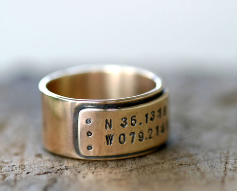 14k Gold Latitude Longitude Wedding Ring (S0309)