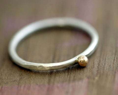14k gold and silver pebble ring (S0283)