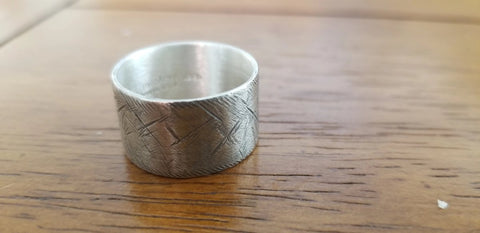 Rustic wide sterling silver wedding ring (S0662)