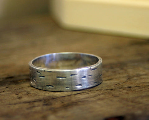 Birch Tree Bark Sterling Silver Band Ring (S0174)