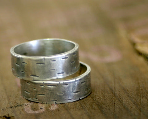 Birch Tree Wedding Ring set of 2 (S0175)