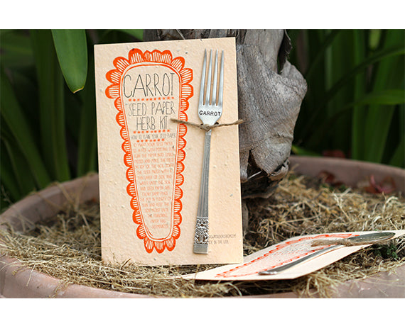 Carrot Plantable Seed Paper with Silverware Garden Marker (S0359)
