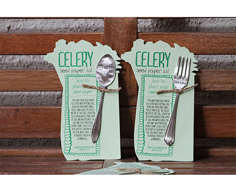 Celery Plantable Seed Paper with Silverware Garden Marker (S0358)