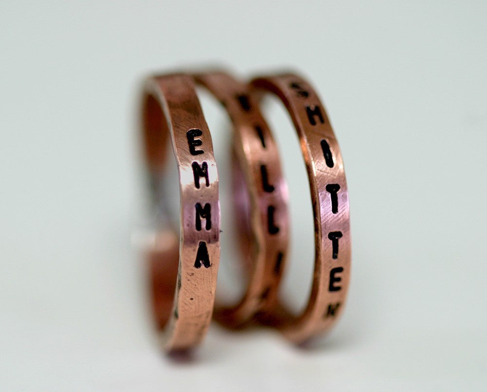 Inscribed Copper Stacking Rings – Set Of 3 (S0177)