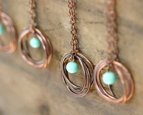 Vintage Blue Bead Copper Trinity Ring Necklace (S0182)