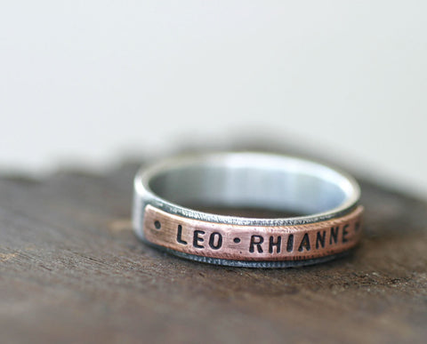 Mixed metal copper and sterling silver personalized band ring (S0180)