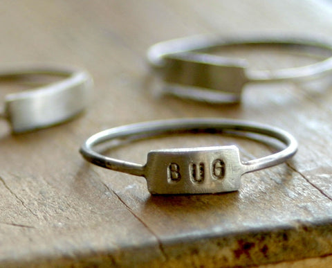 Modern Custom stamped silver name ring (S0185)