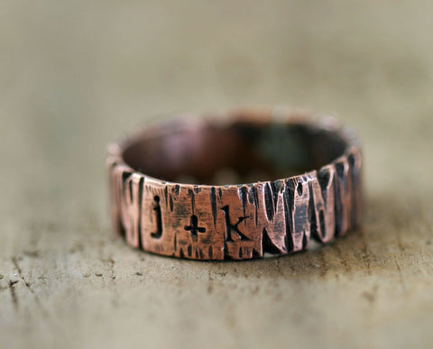Personalized Redwood Tree Bark Ring (S0186)