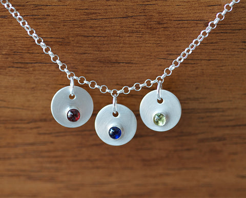Mother's Gemstone Personalized Pendant Necklace (S0342)