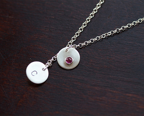 Lover's Gemstone Personalized Pendant Necklace (S0341)