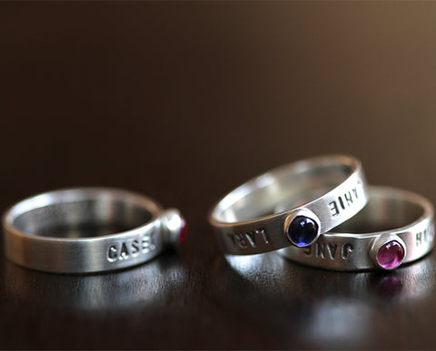 Personalized Gemstone Name RIng (S0348)
