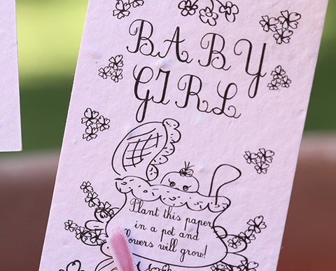 Pink baby girl wildflower kit plantable seed paper with garden marker (S0386)