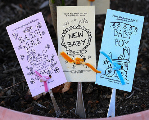 Neutral new baby wildflower kit plantable seed paper with garden marker (E0388)