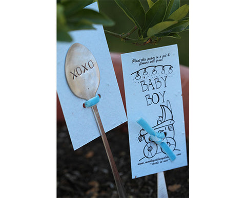 Blue baby boy wildflower kit plantable seed paper with garden marker (S0387)