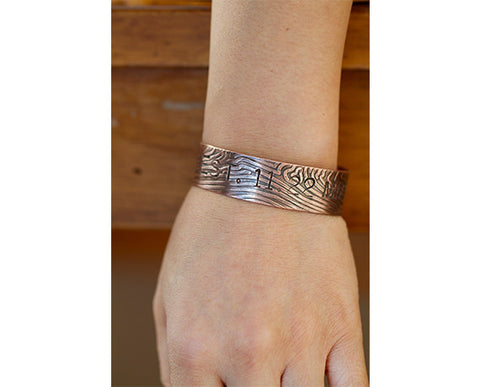 Personalized Copper Tree Bark Bangle S0392