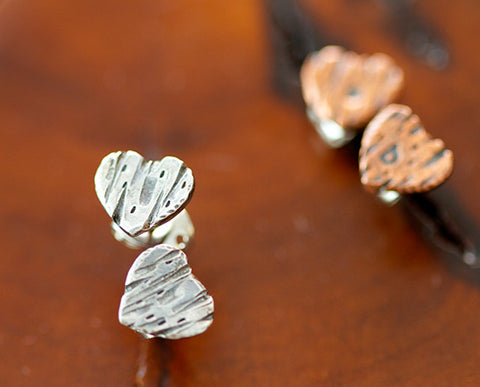 Personalized Sterling Silver Tree Bark Heart Earring (S0398)