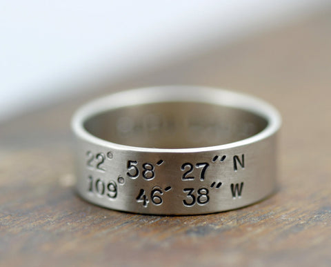 Latitude Longitude Ring 14k gold (S0195)