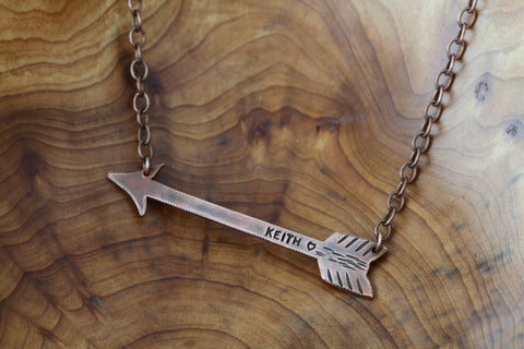 Custom Copper Arrow Necklace & Chain S0380b