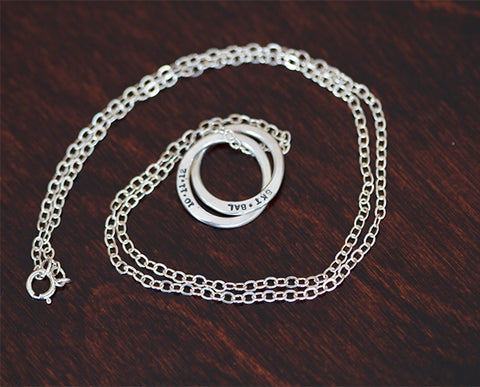 Sterling Silver Interlocking Rings Necklace (S0339)