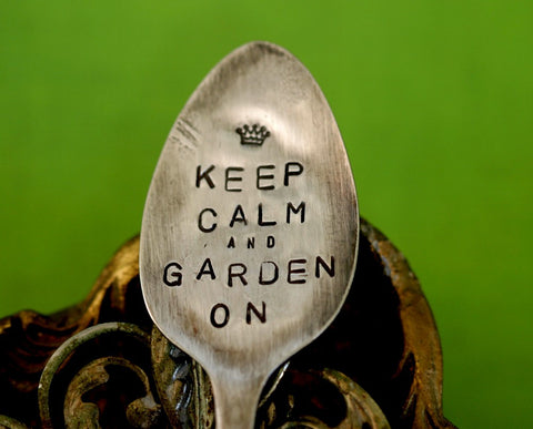 Keep Calm Spoon Garden Marker vintage silverware marker