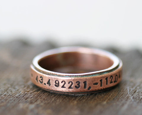 Latitude Longitude Copper Ring (S0207)