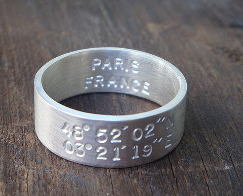 Latitude Longitude Wedding Ring (S0209)