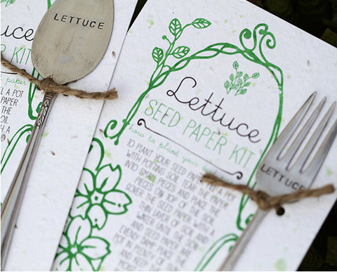 Lettuce Plantable Seed Paper with Silverware Garden Marker (S0360)