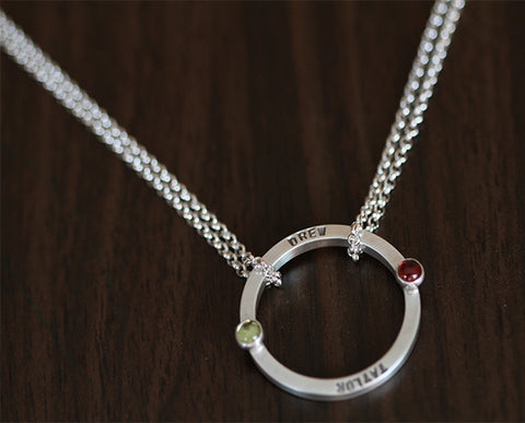 Lovers birthstone personalized necklace (S0340)