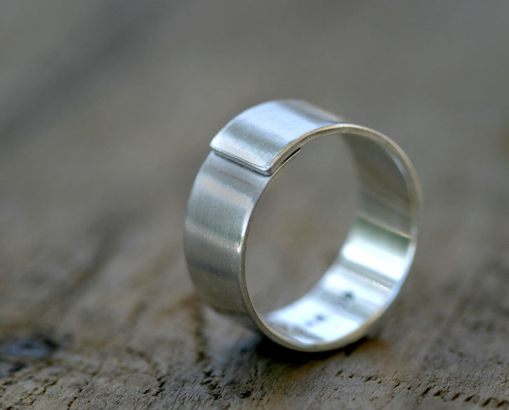 Modern Mens Wedding Band Sterling Silver Wrapped Ring S0319