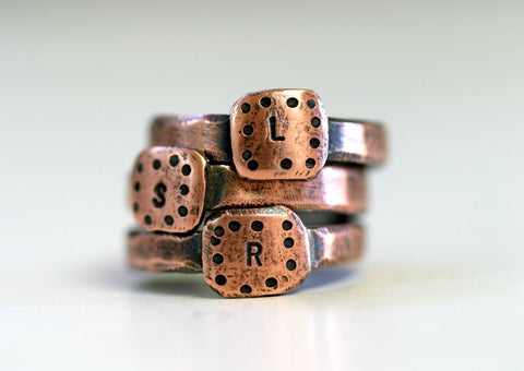 Personalized Initial Copper Band Ring (S0231)